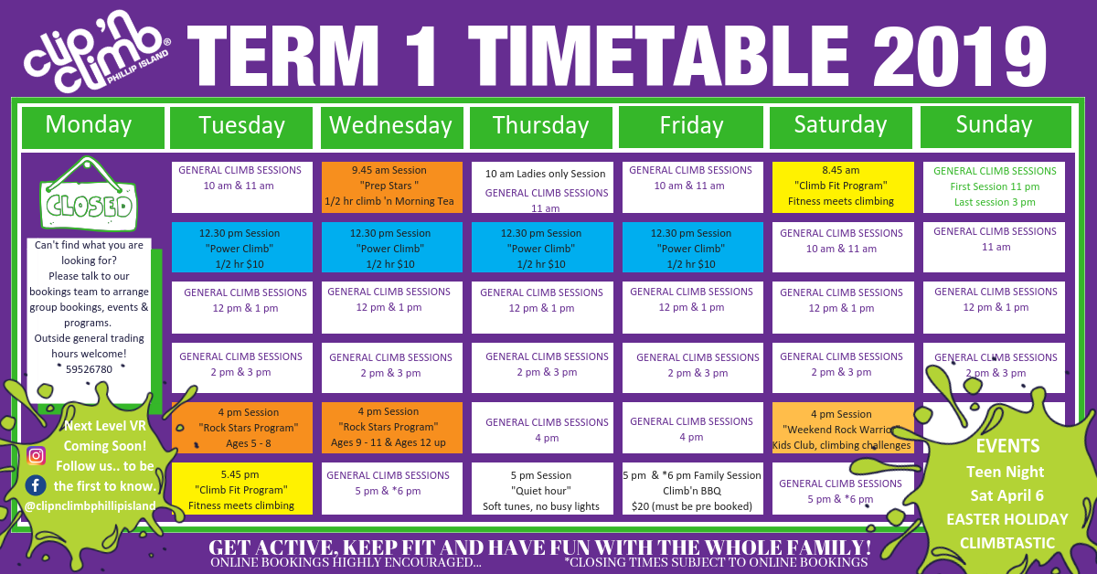 TERM 1 2019 timetable 1 1 - Term Timetable